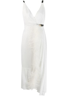 Prada feather trim midi dress