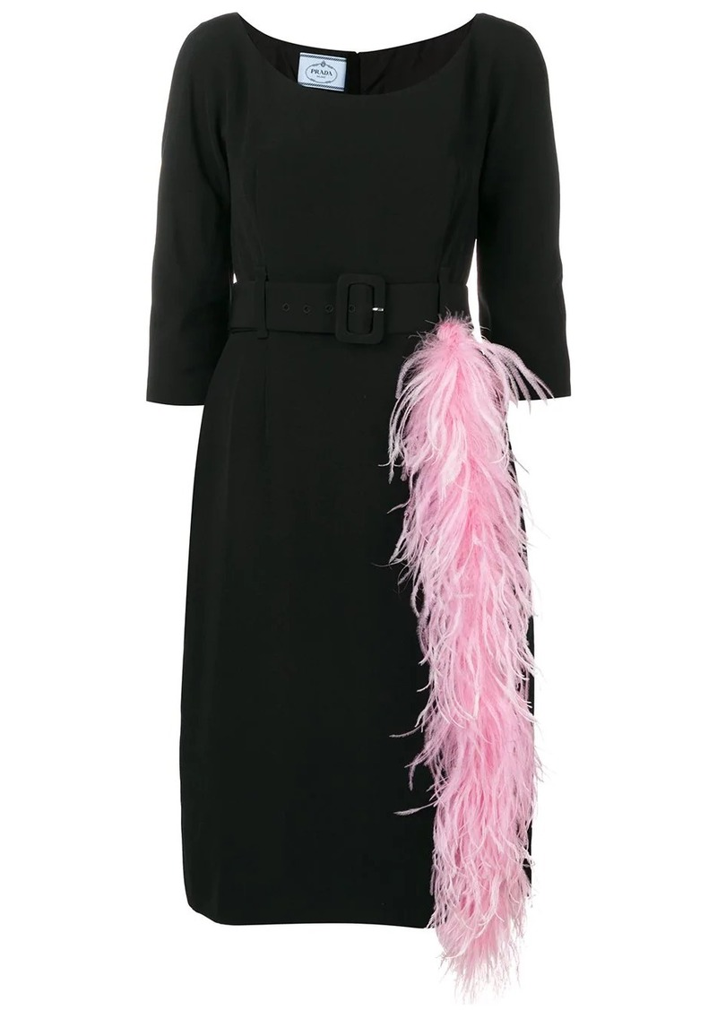 Prada feather-trimmed dress