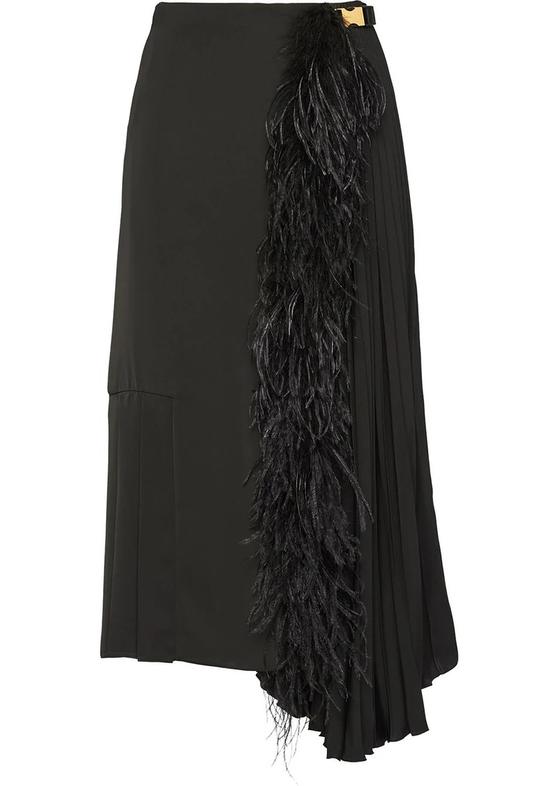 Prada feather trimmed midi skirt