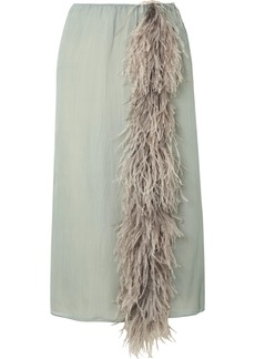Prada Feather-trimmed Silk-georgette Skirt