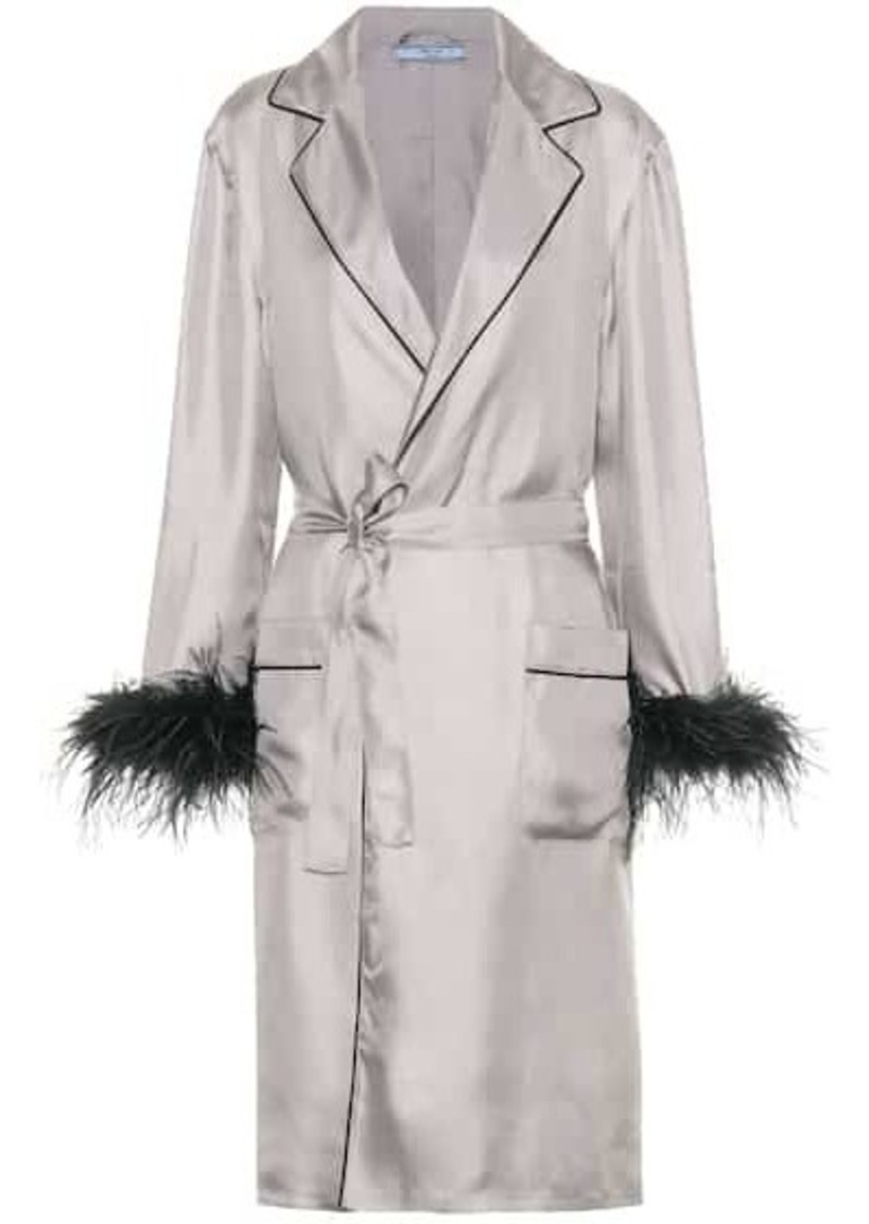 Prada Feather-trimmed silk robe