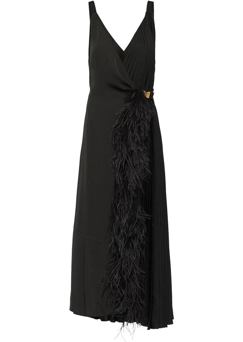 Prada feather trimmed wrap dress