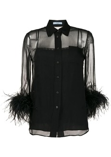 Prada feathered sleeve blouse