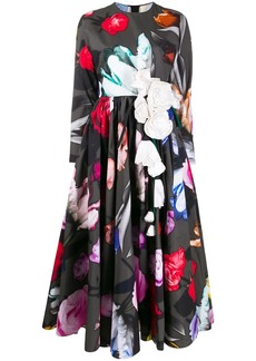 Prada flared floral-print dress