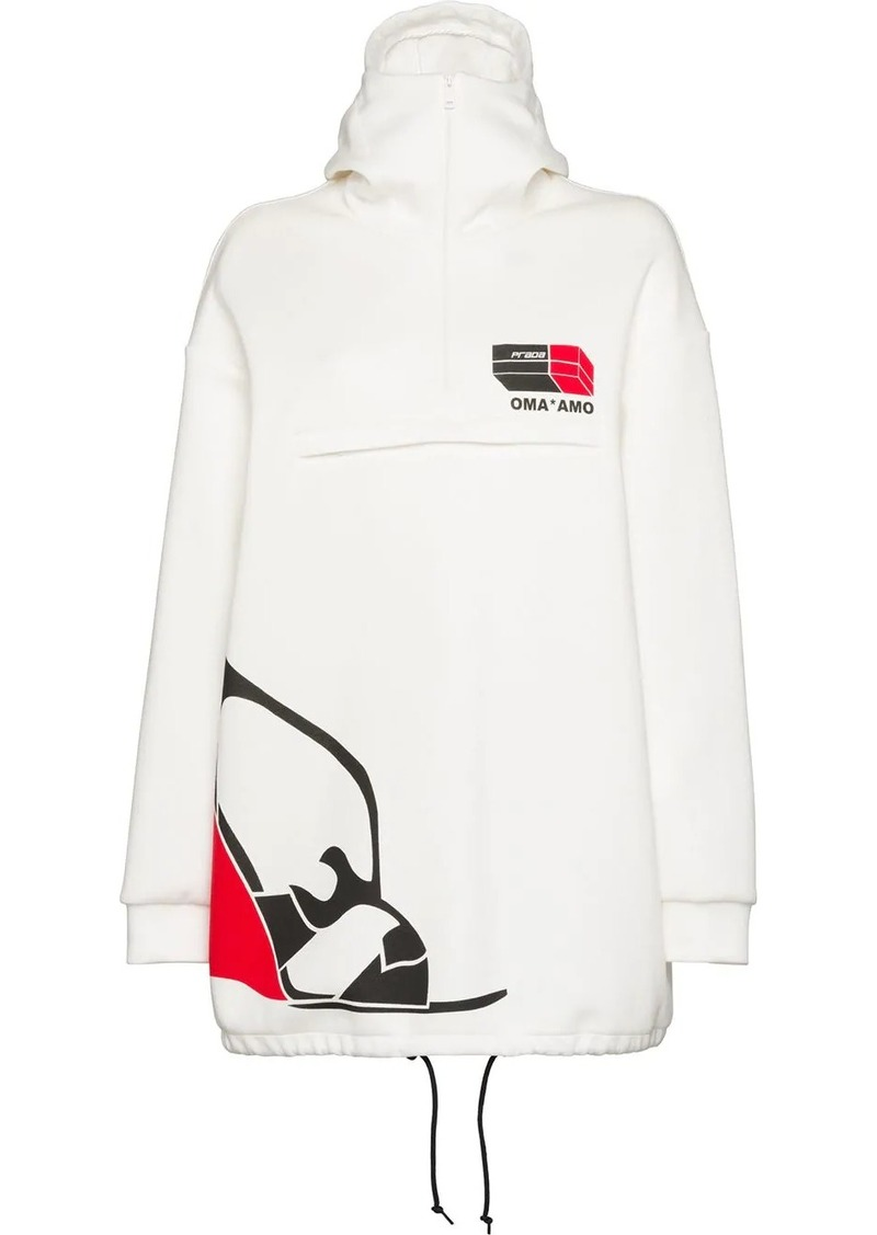 Prada fleece logo print hoodie