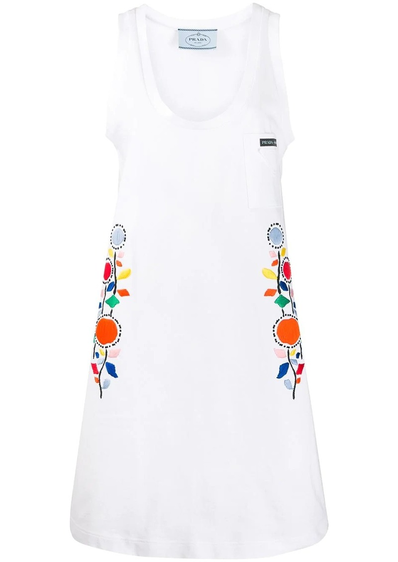 Prada floral-embroidered dress