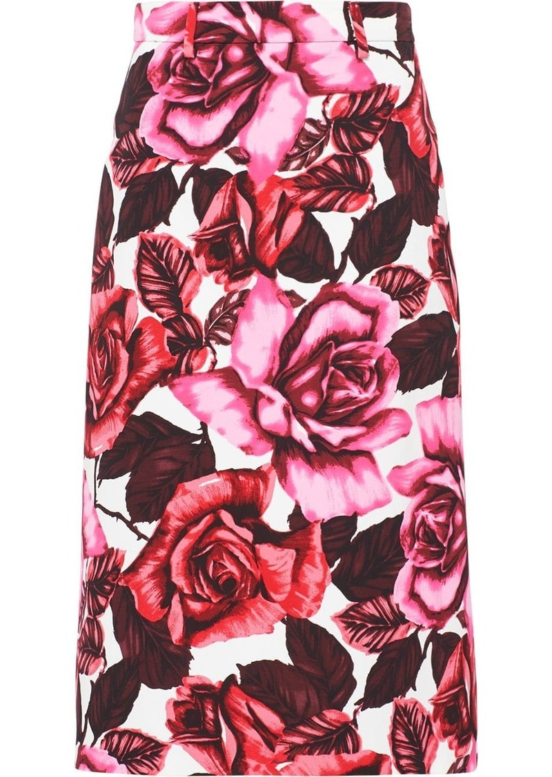 Prada floral poplin skirt