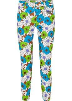 Prada Floral-print Cotton-blend Twill Skinny Pants