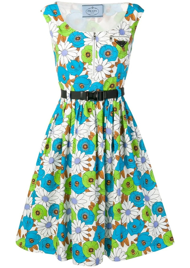Prada floral print flared dress