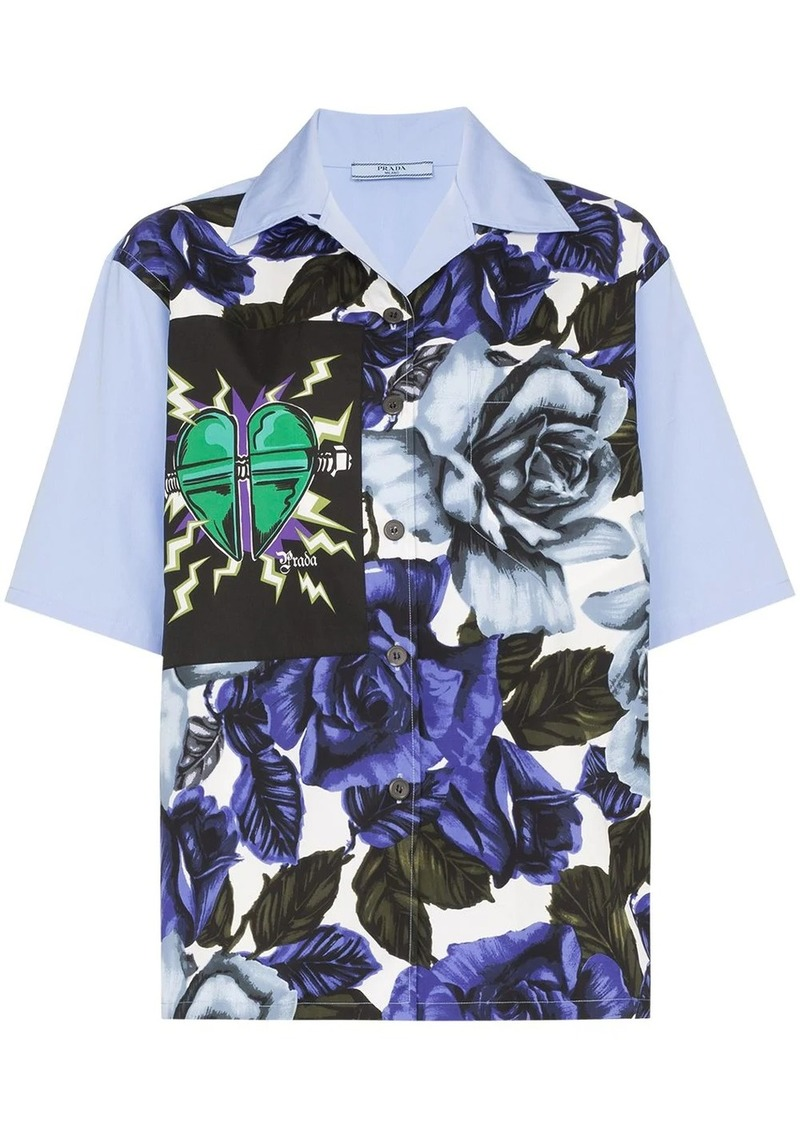 Prada floral print heart patch shirt
