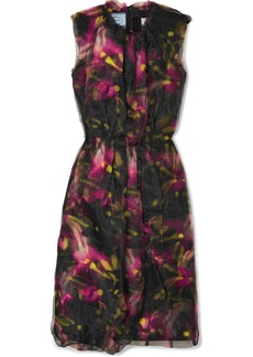 Prada Floral-print Jersey And Organza Midi Dress