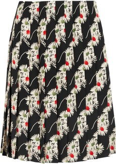 Prada Floral-print Pleated Cady Skirt