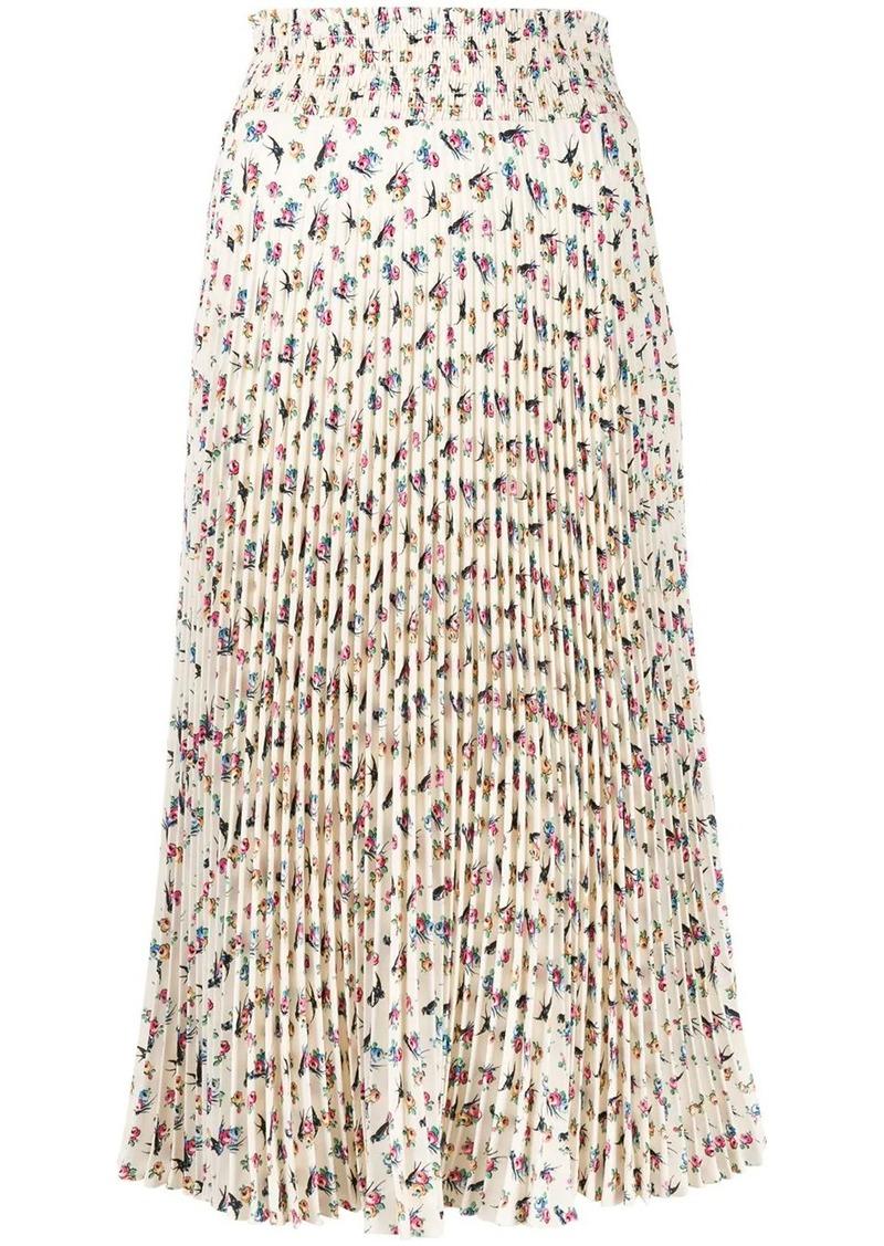 Prada floral print pleated skirt