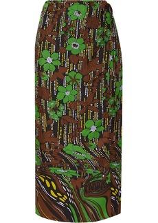 Prada Floral-print Silk-satin Twill Wrap Skirt