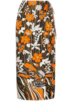 Prada floral print silk wrap skirt