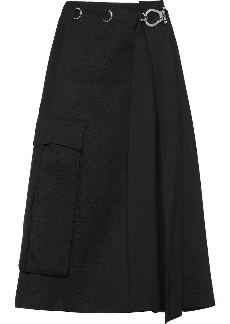 Prada A-line buckle skirt