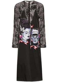 Prada Frankenstein print lace midi dress