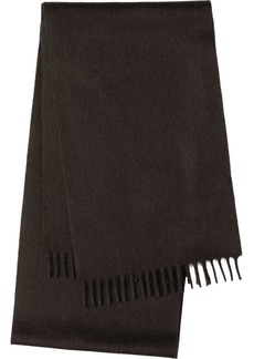 Prada fringed logo embroidered scarf