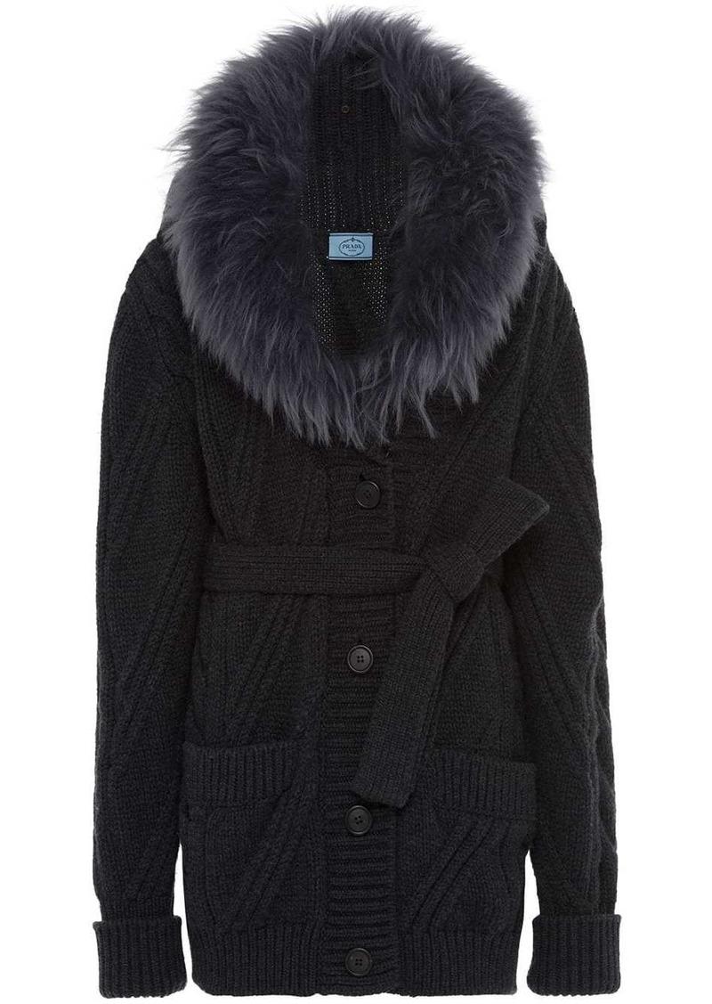 Prada fur collar knitted cardigan