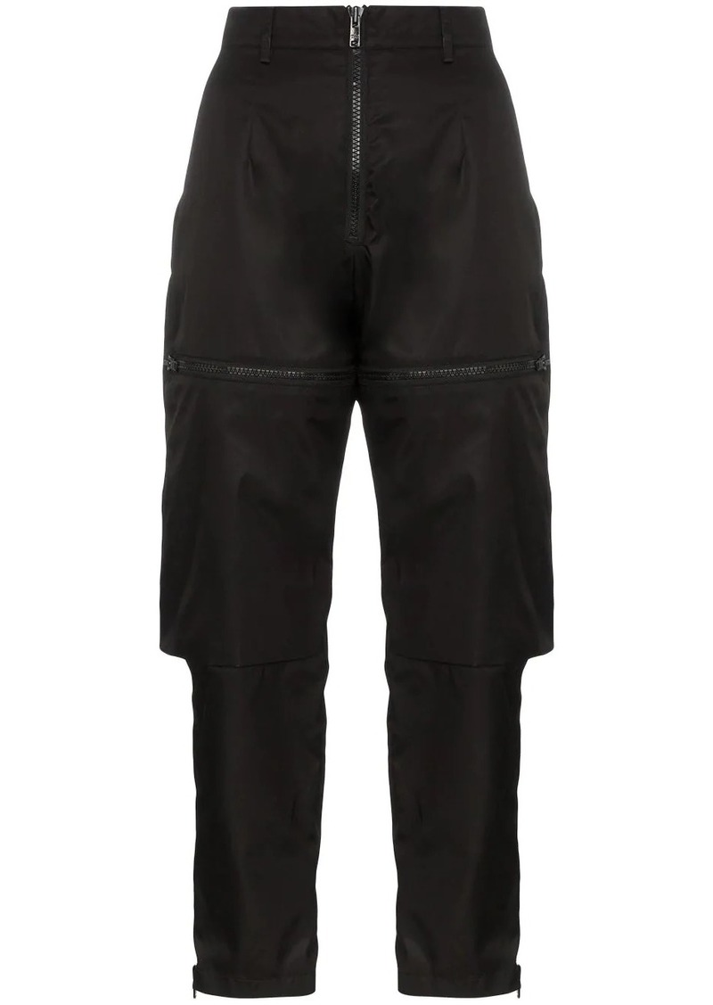 Prada gabardine zip-detail trousers