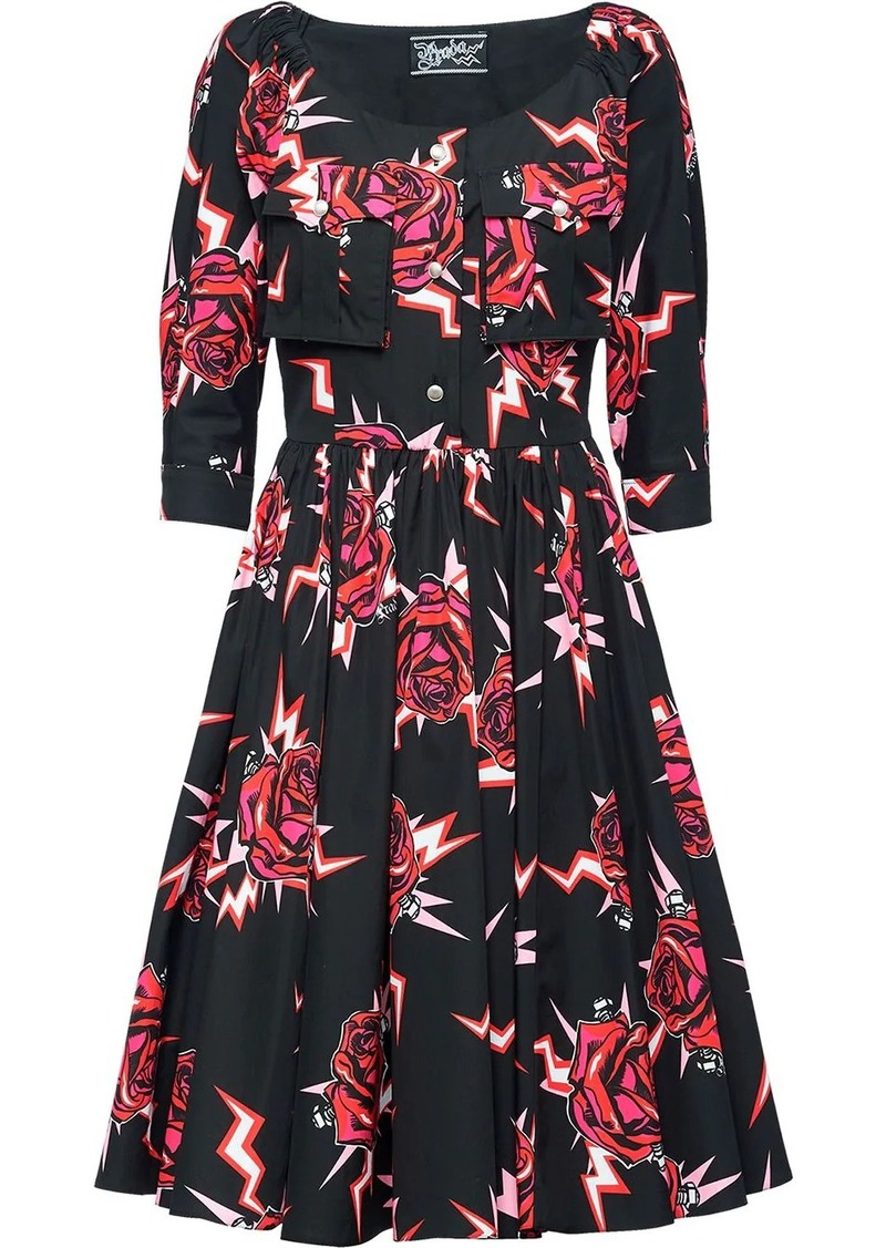Prada graphic rose print dress