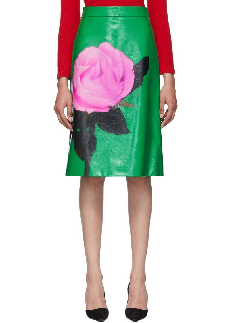 Prada Green Large Rose Print Skirt
