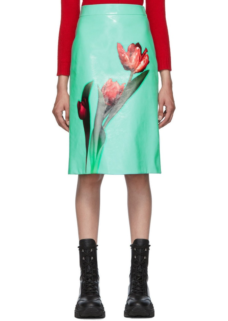 Prada Green Large Tulip Print Skirt