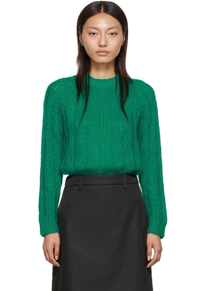 Prada Green Mohair Oversized Crewneck Sweater