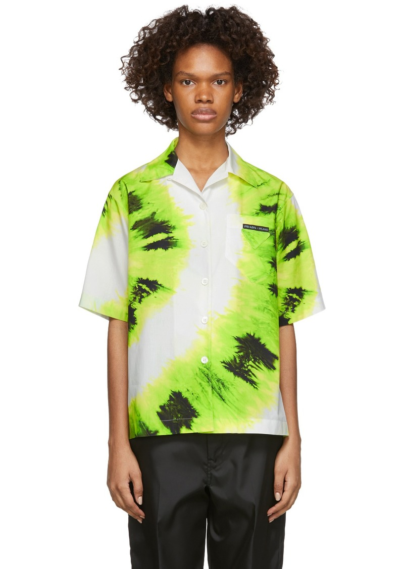 Prada Green Tie-Dye Short Sleeve Shirt