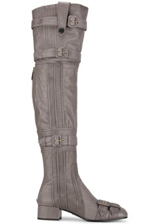 Prada Grey Buckle Leather thigh boots