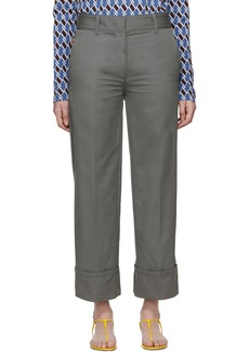 Prada Grey Cotton Pocket Logo Trousers