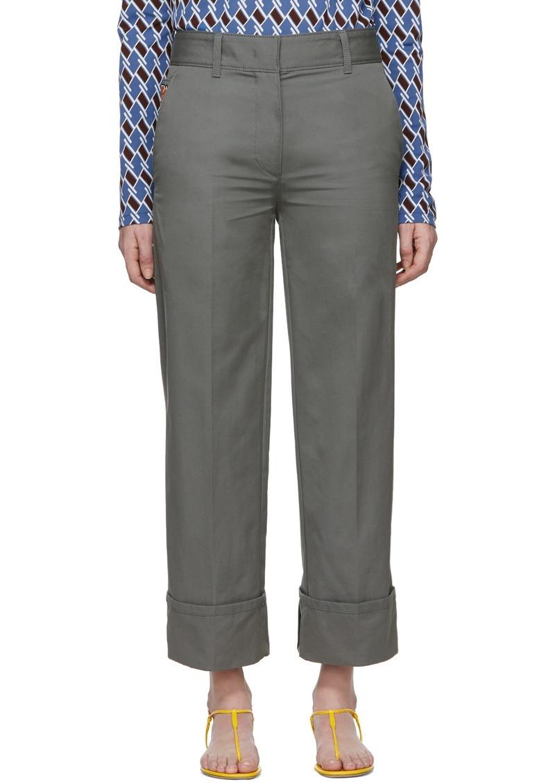 Prada Grey Cotton Pocket Logo Trousers