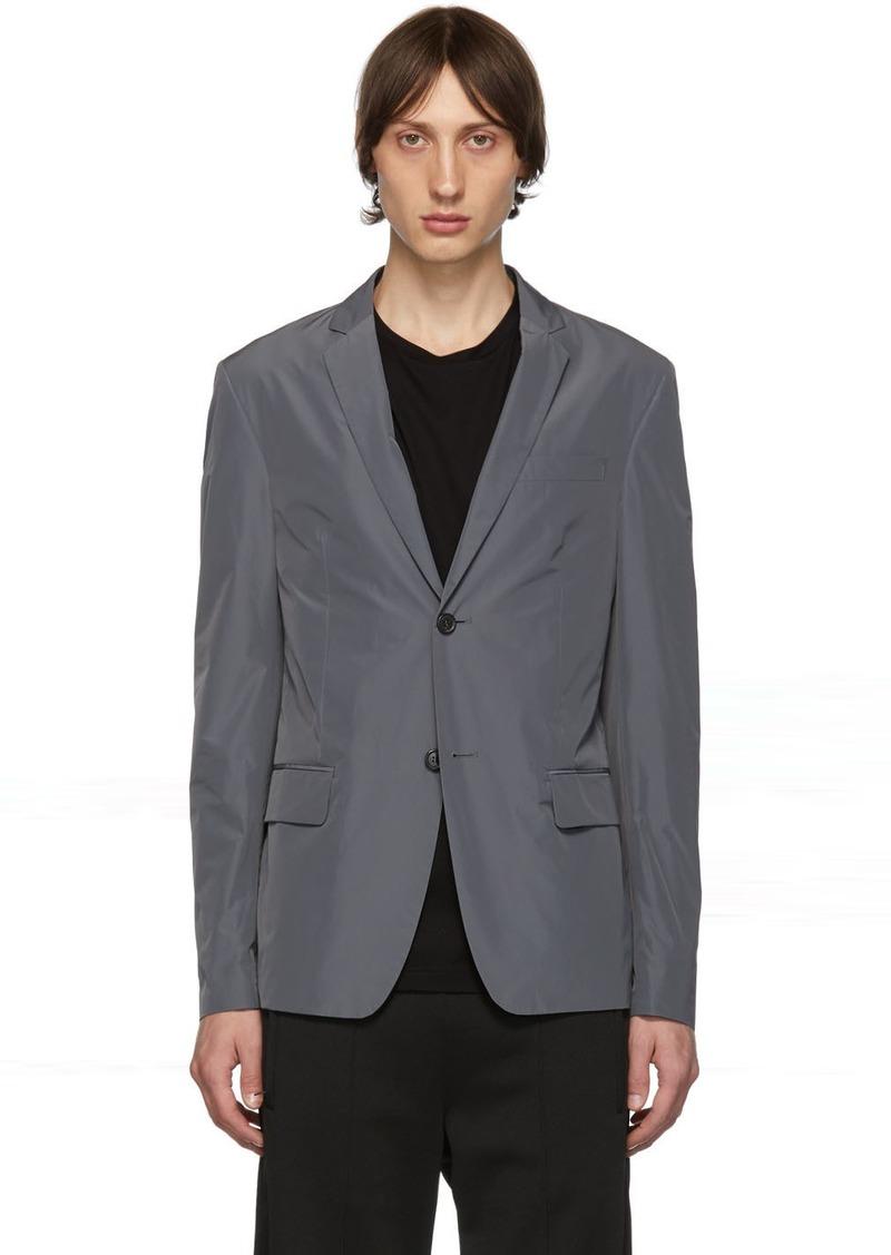 Prada Grey Poplin Single-Breasted Blazer