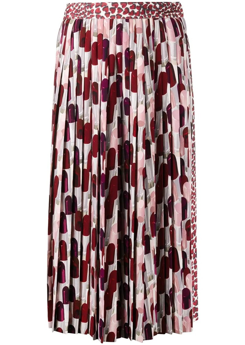 Prada heart print pleated skirt