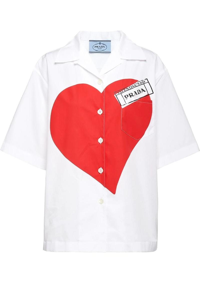 Prada heart print poplin shirt
