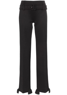 Prada high waisted belted ruffle hem trousers