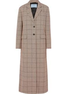 Prada Houndstooth Wool-blend Tweed Coat