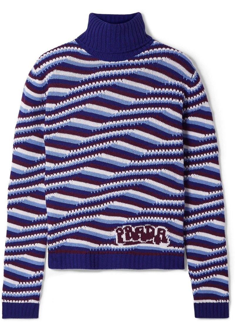 Prada Intarsia Cashmere Turtleneck Sweater