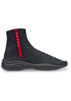 Prada high-top knitted sneakers