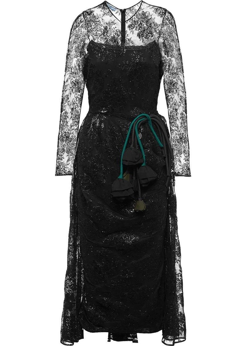 Prada lace midi dress