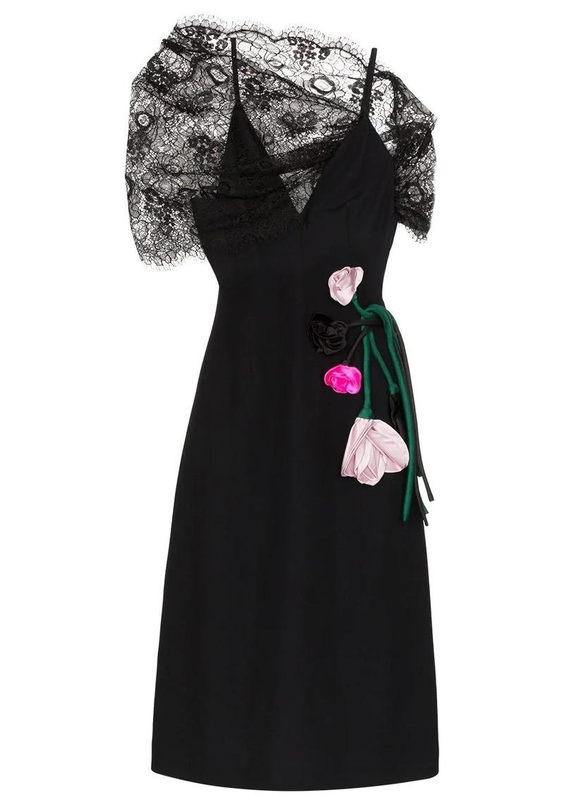 Prada lace-panelled floral-appliqued midi dress