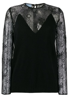 Prada lace sleeve shirt