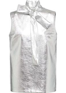 Prada metallic leather blouse