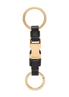 Prada leather buckle keychain