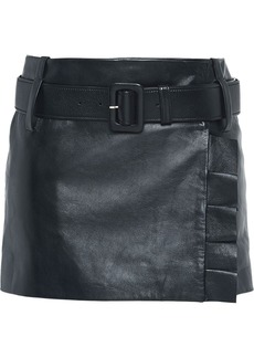 Prada Leather miniskirt with belt and ruffles