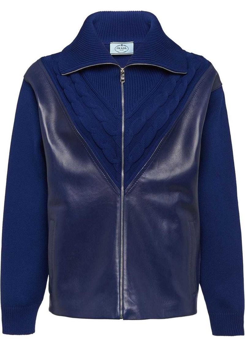 Prada leather panel cardigan