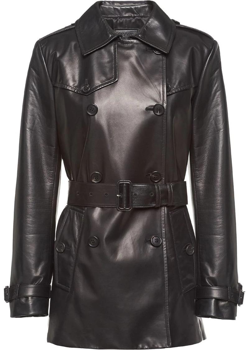 Prada leather peacoat