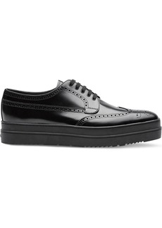 Prada Leather platform derby shoes