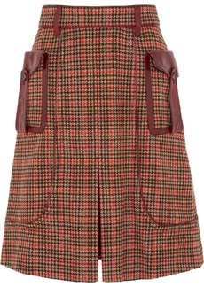 Prada Leather-trimmed Checked Wool-blend Tweed Skirt