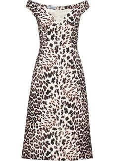 Prada leopard-print cady dress